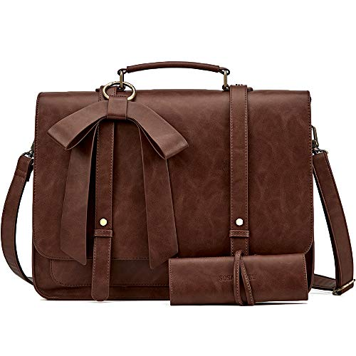 SOSATCHEL Women Briefcase Bag Faux Leather, 15.6 Inch Laptop Crossbody Shoulder Bag, Brown