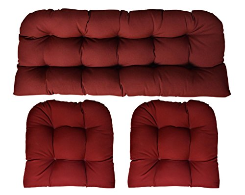 (RSH DECOR Sunbrella Canvas Burgundy 3 Piece Wicker Cushion Set (41