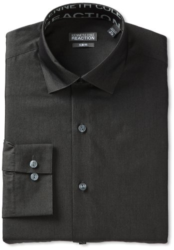 - Kenneth Cole Men's Chambray Slim Fit Solid Spread Collar Dress Shirt, Charcoal, 18
