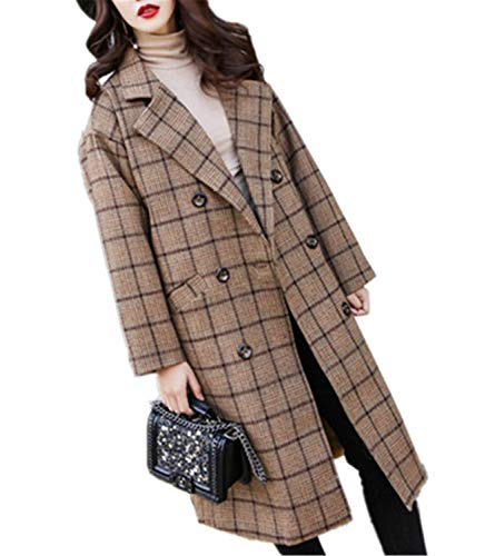 Latest XIAOBAILONG Slim Wool Coat Long Wool Blend Coat and Jacket Plaid Double Breasted Women Coats Camel XL Camel Wool Blazer 9