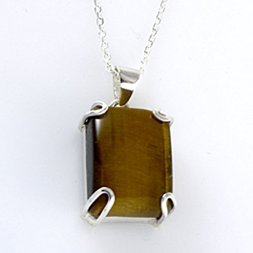 Sterling Silver Natural Brown Rectangle Tiger Eye Totally Handmade Gemstone Pendant 16+2'' Chain - Zodiac Power Pendant