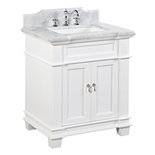 Kitchen Bath Collection KBC5930WTCARR Elizabeth Bathroom Vanity with Marble Countertop, Cabinet with Soft Close Function & Undermount Ceramic Sink, 30