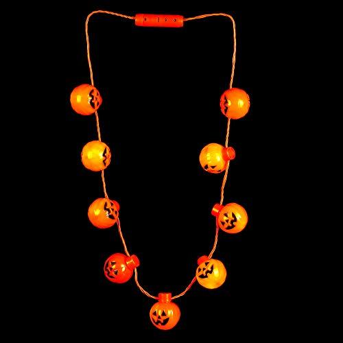 Fun Central BC997, 1 Pc Orange LED Light Pumpkin Neckace, Light up Halloween Necklace, Glow in The Dark Necklace, Halloween Necklaces Light -