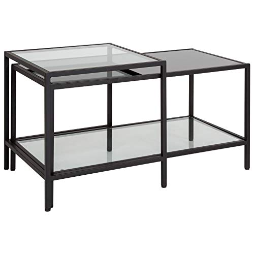 Flash Furniture Westerly Multi-Tiered Glass Coffee Table with Black Metal Frame , Clear/Black - HG-112345-GG