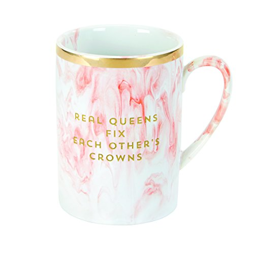 (C.R. Gibson Pink Marble 'Real Queens' Coffee Mug, 4.6'' W x 3.25'' H)