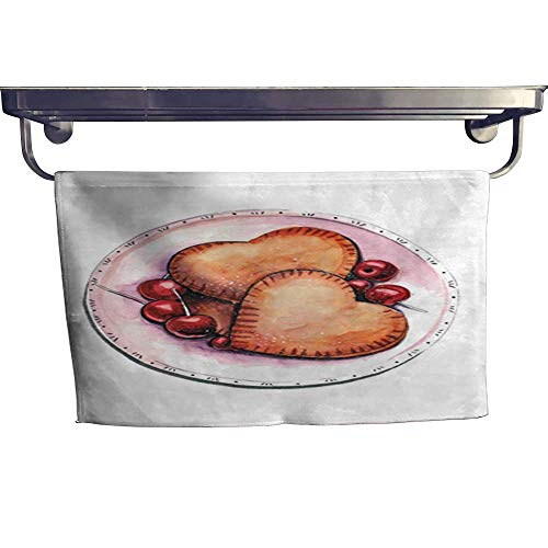 Quick-Dry Towels Hand drawn aquarelle colorful illustration Watercolor artwork Delicious heart shaped cookies with cherry berries on porcelain plate Sweet taste dessert or breakfTowel W 12