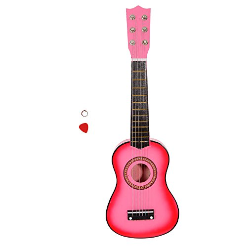 21 Inch 6 String Kid Acoustic Guitar Musical Instruments Toys for Beginners with String and Pick (Pink) by OASIS FOX