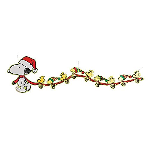 Peanuts Christmas Garland Large Snoopy and Woodstock Banner Party Decorations]()