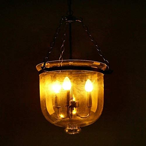 IAIZI 3 Light Vintage Chandelier Pendant Light, Loft Industrial Vintage Dining Table Chandelier Iron Hanging Lamp Clear Glass Shade