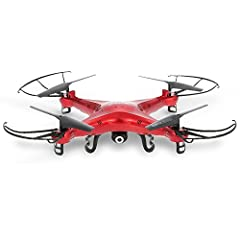 Specifications:  Brand: Syma  Model: X5C  Color: Red / white optional  Channel: 4  Frequency: 2.4Ghz  Camera pixel: 2.0MP  Photo resolution: 1080 * 720  Fuselage material: ABS  Charging time: About 75minutes  Flying time: About 7minutes  Batt...