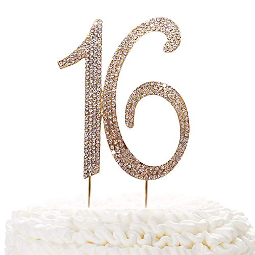 16 Gold Cake Topper | Premium Sparkly Crystal Rhinestones | 16th Birthday or Anniversary Party Decoration Ideas | Quality Metal Alloy | Perfect -