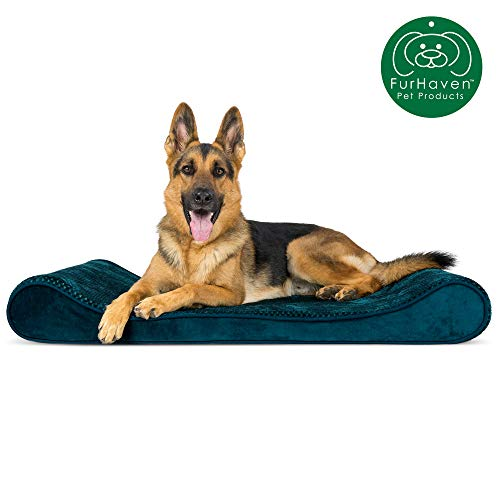 Furhaven Pet Dog Bed | Orthopedic Minky Plush & Velvet Ergonomic Luxe Lounger Cradle Mattress Contour Pet Bed w/ Removable Cover for Dogs & Cats, Spruce Blue, Jumbo
