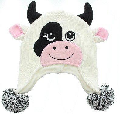 Milani Unisex Super Cute Animal Face Knit Winter Earflap Cap Hat (Cow Girl Hat)