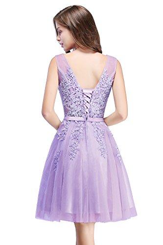 Tüll Damen Brautjunfernkleid Ausschnitt 32 Applique Lila Abendkleid Hell Prinzessin Gr Rückenfrei Kurz MisShow 46 Ballkleid V qEwwR