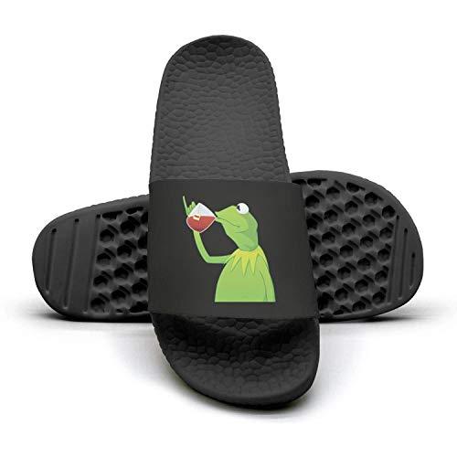 Womens Printed funny-green-frog-sipping-tea Non-slip black Slipper Slide Flip Flop Sandals Summer Outdoors Indoors