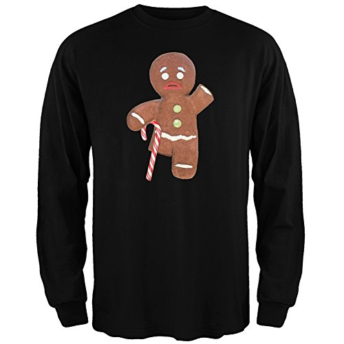 Ginger Bread Man With Candy Cane Crutch Black Adult Long Sleeve T-Shirt - 2X-Large