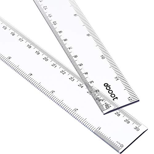 2 Pack 12 Inches Clear Plastic Ruler Straight Ruler Plastic Measuring Tool for Student School Office ()