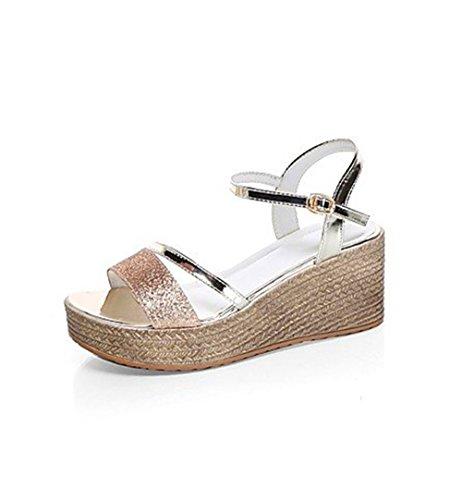 TGKHUS Sandales Femmes Muffins Épais Slope Wedges Chaussures Décontractées 2In-2 3/4 in, Gold, Us6/Eu36/Uk4/Cn36