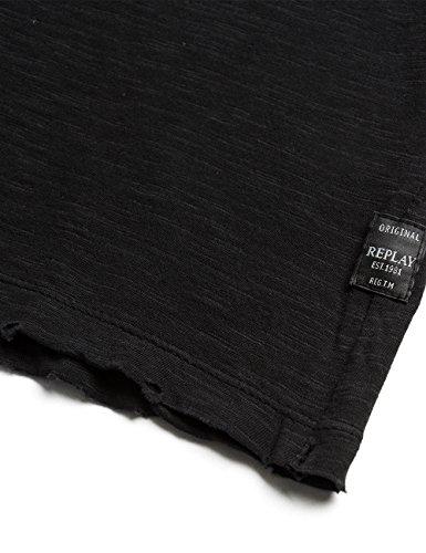Replay Women's Slub Women's Black T-Shirt 100% Cotton Black