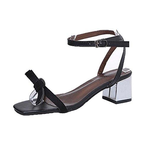 Elevin (tm) 2018Mujer Summer Open Toe Zapatos De Tacón Grueso Zapatos De Gladiador Sandalias De Boda Negro