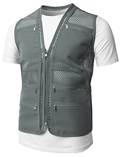 H2H Mens Casual Work Utility Hunting Travels Sports Mesh Vest With Pockets Gray US L/Asia XL (KMOV086)