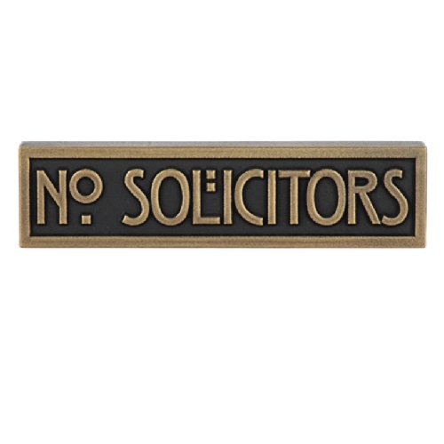 - Mini Stickley Font No Solicitors Plaque 8x2 - Raised Brass Metal Coated Sign