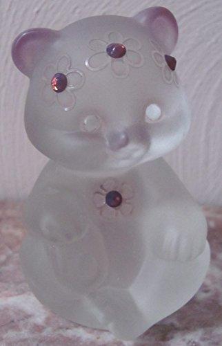 Fenton Sitting Bear - Airbrushed Sand Carved Swarovski Gemstones Crystal Mist Solid Glass - Rosso (Fenton Crystal Bear)