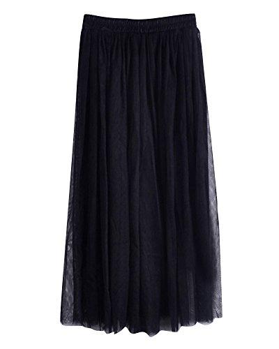 Taille Long Mousseline de Noir Plage Femmes lgant Soie de Filles Longue Jupe Pliss Double Extensible Jupe Couche Doux wxgP7p