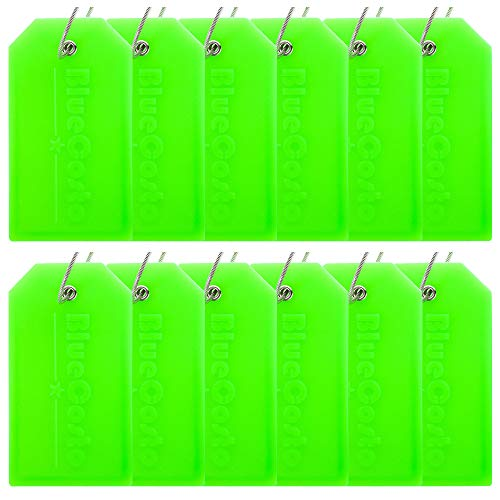 - BlueCosto 12 Pack Luggage Tags Suitcase Tag Travel Bag Labels w/Privacy Cover - Green