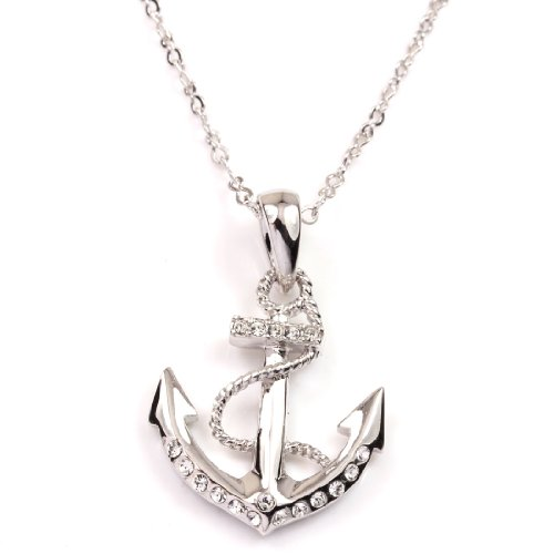 FC JORY White Gold Plated Crystal CZ Anchor Pendant Charm Silver Color Necklace (Necklace Crystal Anchor)