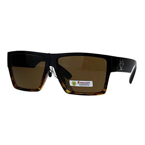 Biohazard Skater Mens Flat Top Squared Rectangular Gangster Sunglasses Brown Tortoise (Skater Glasses)
