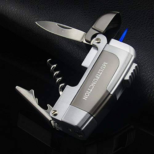 New Multifunction Windproof Jet Torch Gas Refillable Lighter Knife Bottle Opener