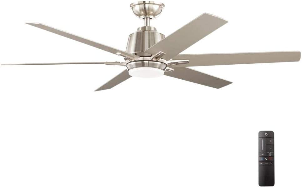 Home Decorators Collection YG493A-BN Kensgrove 54 in. Integrated LED Indoor Brushed Nickel Ceiling Fan with Light Kit and Remote Control