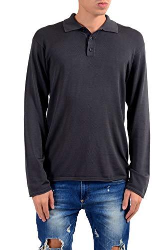 Armani Collezioni Silk Gray Men's Polo Pullover Sweater US 2XL IT -
