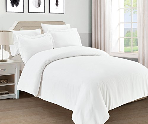 5 Piece Duvet Cover Bedding - Mellanni Duvet Cover Set 5pcs - Soft Double Brushed Microfiber Bedding with 2 Shams and 2 Pillowcases - Button Closure and Corner Ties - Wrinkle, Fade, Stain Resistant (Full/Queen, White)