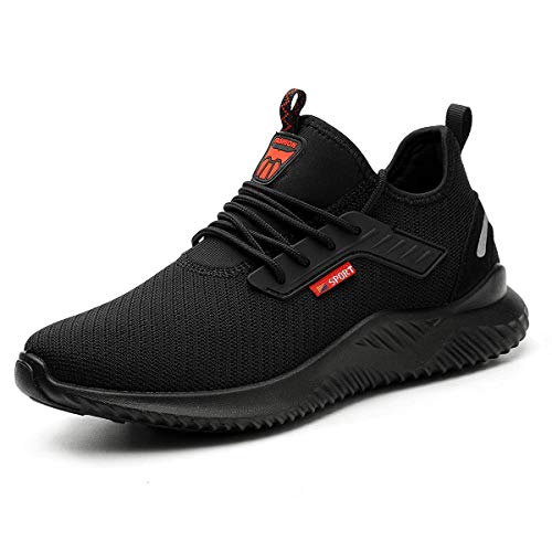 YISIQ Lightweight Safety Shoes Men Women Work Trainers Steel Toe Caps Sport Breathable Industrial Protective Work Trainer Sneakers