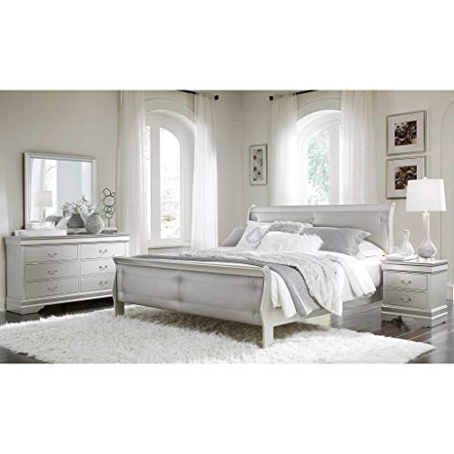 Global Furniture USA Marley Bedroom Set (5pc) Includes Inside delivery with Assembly to Room of Choice (Silver, Eastern King)