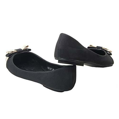 on Ballet Black Women's Flats 281 NO Casual Toe fereshte Shoes Comfy Pointed Slip npqCWSx