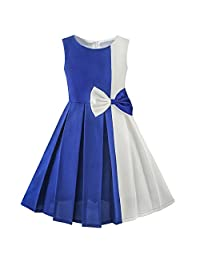 Sunny Fashion Girls Dress Color Block Contrast Bow Tie Everday Party Size 4-14