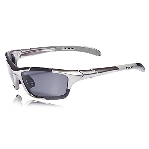 Hulislem S1 Sport Polarized Sunglasses FDA Approved (Gun-Smoke) Sunglasses for Men Women Mens Womens Sports