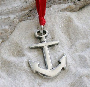 Pewter Anchor Nautical Navy Christian Christmas Ornament and Holiday Decoration