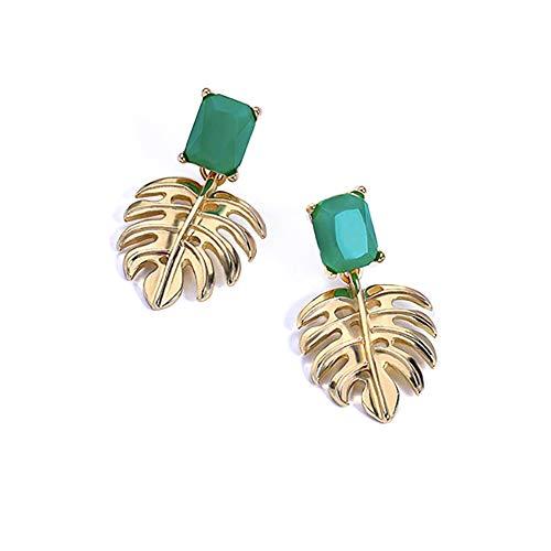 ALMAATA Jewelry Vintage Boho Crystal Baroque Bohemian Gold Palm Leaf Drop Earrings for Women Girls (Green)