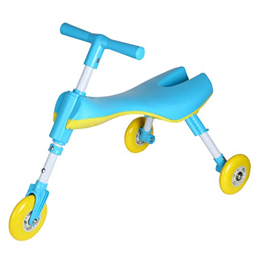 Medog Fly Bike SCOOTER BUG Foldable Toddlers Glide Tricycle Ride On Toy - Non Scratch Wheels - No Setup Required - IT under CPC OF CPSIA Three color(RED PINK BLUE) for choose