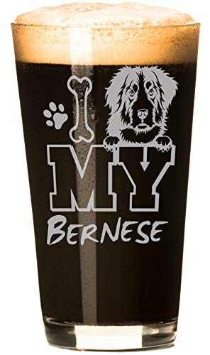 I Love My Bernese Mountain Dog 16 oz Beer Pint Glass (1 Glass) LAUNCH SALE