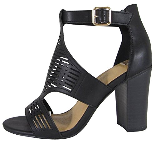 bd798dde89f Cambridge Select Women s Open Toe Laser Cutout Caged Buckled Ankle Chunky  Stacked Block Heel Ankle Bootie