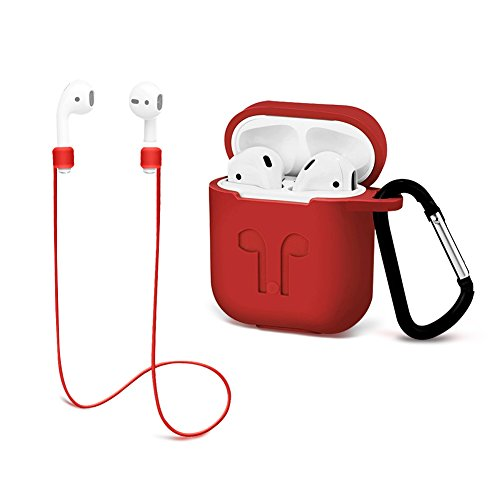 Airpods Protective case Strap Silicone Cover Keychain Strap Apple Airpod Accessories - Red GIM