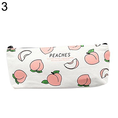 Goodtimes28 Hot vente Lovely Peach Trousse sur toile papeterie Sac Zipper Pouch école étudiant Cadeau, Toile, 3#, 3