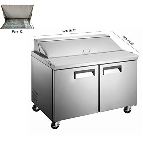 (47 inch Two Door Wide Refrigerated Sandwich/Salad Preparation Table, 12 pans, ETL)