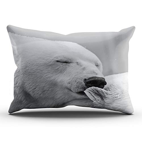 WULIHUA Throw Pillow Covers Gray Beautiful Resting Polar Bear King Outdoor Cushion Cover Pillowcase Size 20x36 Inch One Sided Printed Chic Fashion ()