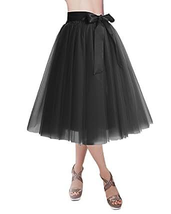 DRESSTELLS Knee Length Tulle Skirt Tutu Skirt Evening Party Gown Prom Formal Skirts Black M-L